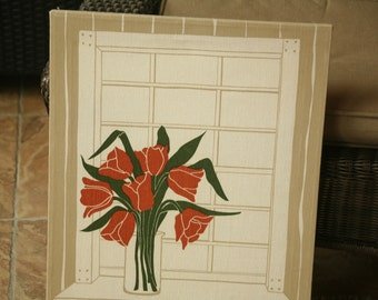 Vintage 70's Marusha Rose Screen Print, Home Decor, Winter, Home, Wall Hanging, Red, White, Tan