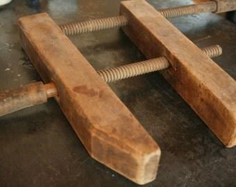 Extra Large Vintage Wood Clamp,  Vintage Vise, Primitive, Vintage Carpenter's Tool, Old Tools, Wooden Primitive
