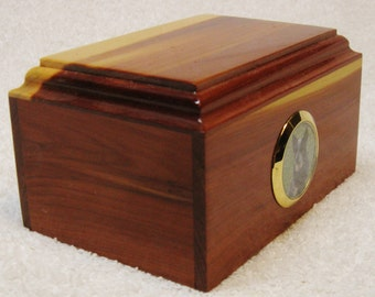 Small cedar picture urn for pets