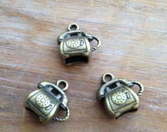 Telephone Charms Antique Bronze Phone Charm Retro Charm Rotary Dial Telephone Charms Vintage Style Pendant Jewelry Supplies (AV066)