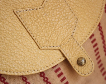 Yellow Messenger Bag With Red Tribal Detailing