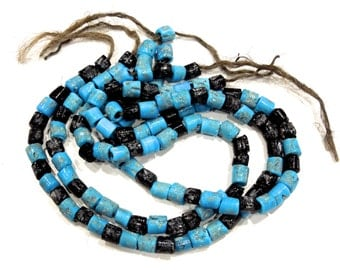 VINTAGE: Old Glass Trade Bead Strand - Primitive Beads - Large Hole Beads - (11-A2-00004957)