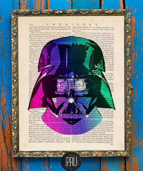 Disco Dark Side Darth STAR WARS Original Print on an Unframed Upcycled Bookpage