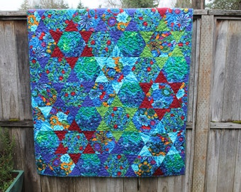 Blue Lap Quilt with Lovely Hexagon Star Design