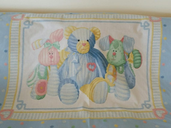Vintage Baby Quilt Panel Stuffed Animals