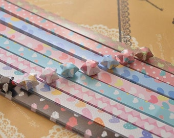 Origami Lucky Star Paper Strips Sweet Hearts Mixed Designs Star Foldng DIY - Pack of 80 Strips