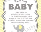 Elephant Don't Say Baby -  Baby Shower  Game - Diaper Pin Clothes Pin Game - Printable Digital -  Yellow Elephant - Gender Neutral Color