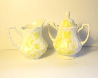 Vintage Yellow Ironstone Transfer ware Windsong Pattern by J & G Meakin