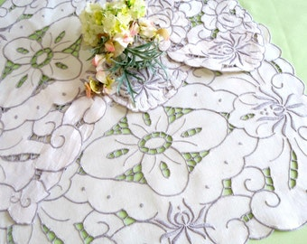 Cutwork Embroidered Doilies Set of 4 Rectangular and Oval Doilies, Cream and Gray, Placemats, Antimacassars,Vintage Linens by TheSweetBasil