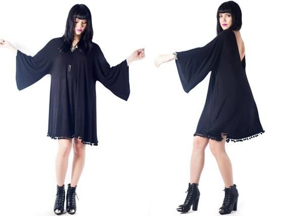 black bell sleeve Trapeze Shift Swing open back jersey knit boho bohemian witch goth angel sleeve dress S M L