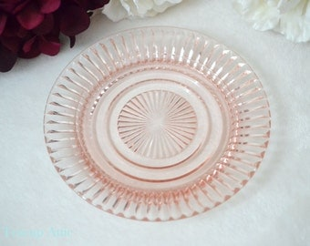 ON SALE Pink Depression Glass Queen Mary Bread And Butter Plate, Hocking Glass Pink Depression Glass Sherbet Plate, ca. 1936-1948