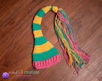 Newborn Striped Elf hat with Tassels