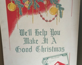 WWII War Savings Bond Series E Poster Dayton Company World War Two  Department Store Double Sided We'll Help You Make It A Good Christmas
