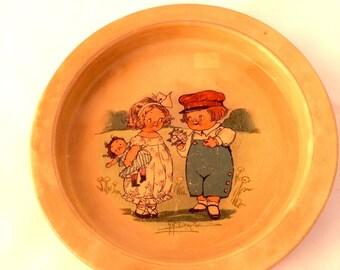 Antique Buffalo Pottery Baby Dish Grace G Grayton Illustration - (Campbell's Soup kids and Dolly Dingle creator) Ceramic Children's Bowl
