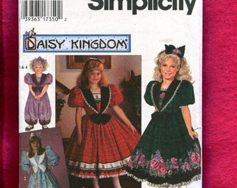 Simplicity 7698 Sizes Daisy Kingdom Victorian Girl's Party Dress & Jumpsuit with Puff Sleeves Large Collar 10 12
