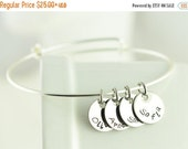 Valentines Day Gift Bangle charm bracelet, name bracelet, Personalized hand stamped bracelet, womens jewelry