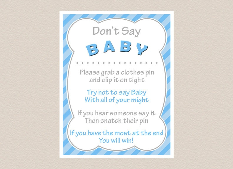 It's just a graphic of Punchy Don't Say Baby Printable