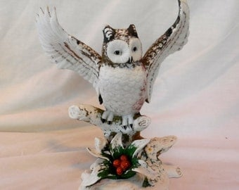 Snow Owl with Holly Berries Figurine Porcelain 1980s
