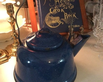FALLSALE Blue GraniteWare, Enamel Teapot, Vintage