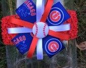 Chicago CUBS Baseball Hair Bow Headband cubbies bow chicago cubs baby bow Cubs pin