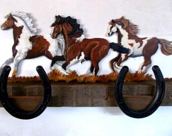 Horseshoe Rack, Running Horses, Rustic Wood Holder
