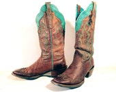 Vintage Cowboy Boots, Ariat Tall Brown Leather with Turquoise Trim, Wingtip Toes, Men's size 10 B