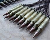 bullet necklaces // .223 brass + copper bullet pendants. copper curb chain.