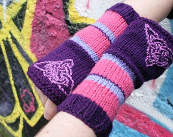 Arm warmers - Fingerless gloves - knitted Irish wool - Celtic design - purple -pink - made in Ireland