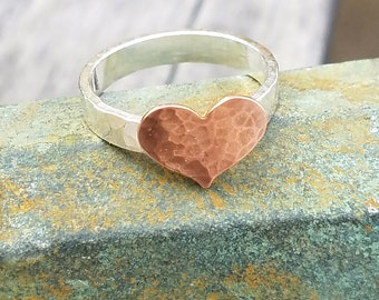Heart Ring - Sterling Silver and Copper - Mixed Metal Heart Ring
