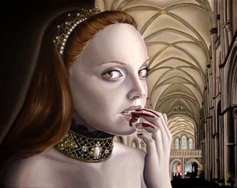 Renaissance Surreal Girl in Cathedral Dark Fantasy Blood Countess A4 Art Print
