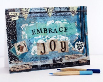 Joy Blank Greeting Card Inspirational Mixed Media Note Card Stationery Paper Goods Blue Green