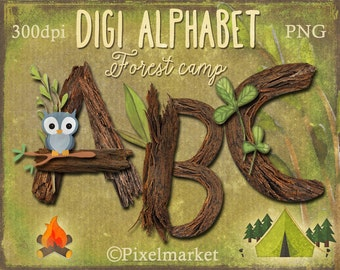 Realistic Digital ALPHABET Clipart Wood Letters Forest Tree branch Digi Alpha Twig Stamp Printable Download for Scrapbooking Clear Stamp png