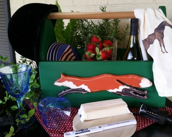 Large Wooden Primitive Tote with Running Fox