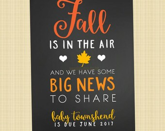 Fall pregnancy announcement card - Fall Day greetings card (Fall is in the air...)