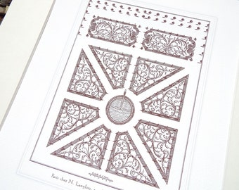 Antique French Garden Plan 10 In Sepia Archival Print on Watercolor Paper