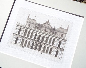 Architectural Drawing 3 Building with Asymmetrical Roofline Archival Print on Watercolor Paper