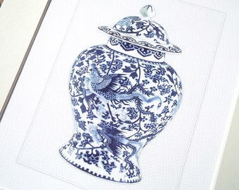 Blue & White Chinoiserie Porcelain Ginger Jar 4 Archival Print on Watercolor Paper
