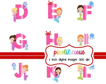 Bottle Cap Image Sheet - Instant Download - Mermaid Alphabet -  1 Inch Digital Collage - Buy 2 Get 1 Free