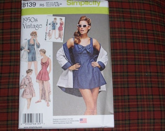 Simplicity 8139..1950's Retro Bathing Dress and Beach Coat Pattern..Misses 1950's Vintage Swimsuits..New for 2016 & Uncut