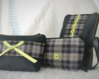 Pouch Set, Clutch Set, Pouches, Make up bags, Wallet, Coin Purses, Clutch, Black Pouch, 3 Piece Pouch Set