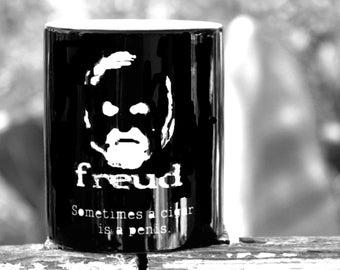 Philosophy Mug Quote Mug Freud Geekery Psychology Coffee Mug Novelty Cigar Humor Geekery 11oz