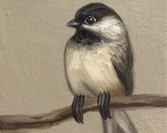 Original Oil Painting Tiny Chickadee