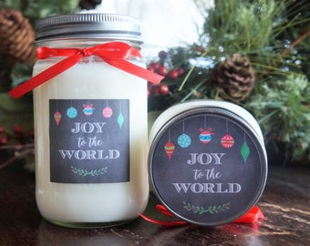 Christmas Holiday Soy Candle//16 oz.//Large Pint//Choose Your Scent//Christmas Gift with Box//Joy to the World//Ornament Gift//Candle Gift