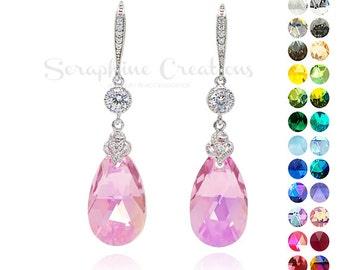 Light Rose AB Earrings Pink Crystal Earrings Swarovski Wedding Jewelry Light Pink Bridesmaid Earrings Cubic Zirconia Rose Earrings K012-01