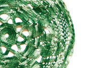 Green and white Crochet Doily Vintage lacy doily
