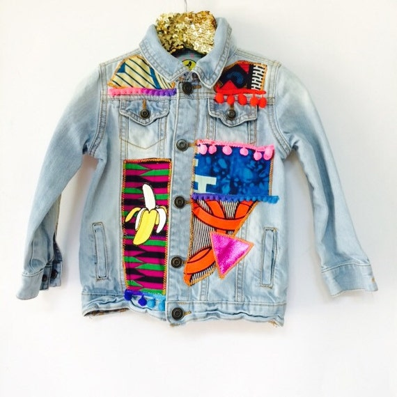 JUMP 3-4 Years Denim Jacket Upcycled with African fabric Pom Pom Trim