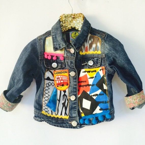 JUMP 6-12 Months Denim Jacket Upcycled with African fabric Pom Pom Trim MH
