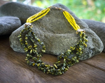 African mustard  Yellow Tribal necklace, Tribal style necklace,