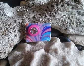 Unique Marbled Paper Pendant on a Small Rummikub Tile