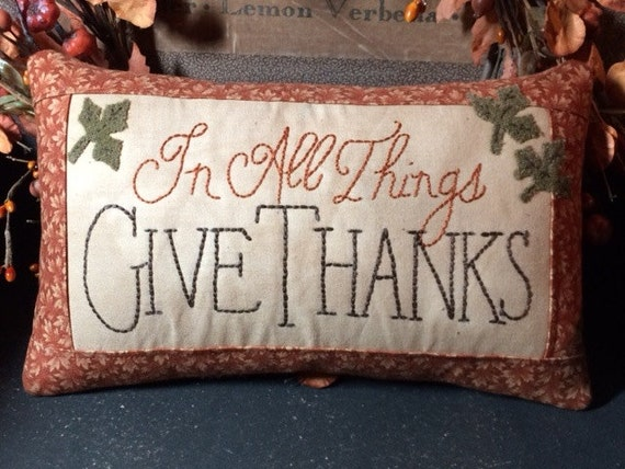 In all things Give Thanks embroidered pillow FAAP